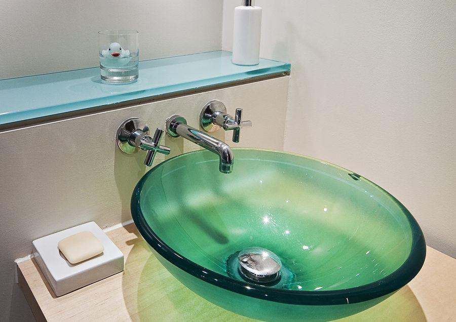 Glaswaschbecken grün